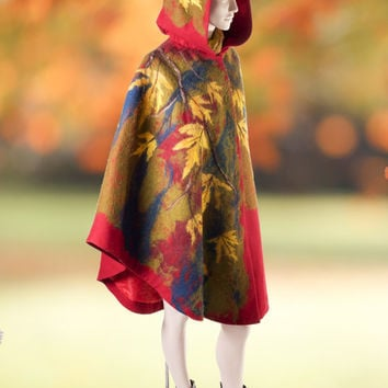 Autumn red green yellow maple leaf woman poncho coat, felted poncho cape Coat winter coat Autumn Woman Wool Coat  plus size