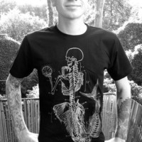 Mens Black T Shirt, Anatomical mermaid, S,M,L,XL,XXL