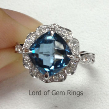 Cushion London Blue Topaz Engagement Ring Pave Diamond Wedding 14K White Gold 8x8mm Fine Ring Vintage Floral Design