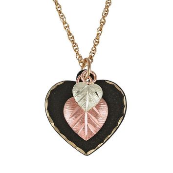 Black Hills Gold & Brass Four Tone Heart Pendant Necklace (Rose Gold/Black/Gold)