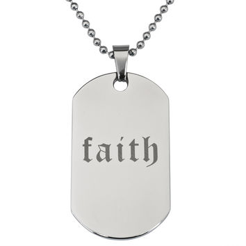 Faith Stainless Steel Dog Tag Ball Chain Necklace