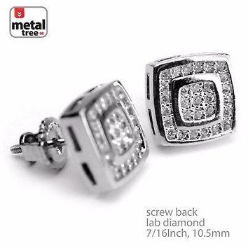 Jewelry Kay style Men's Iced Out Silver Plated Bling Oval Square Screw Back Stud Earrings BE 054 S