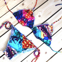 2017 new printed Two Piece Bikini Swimsuit