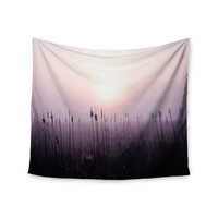 "Angie Turner ""Sunrise Cattails"" Purple Gold Wall Tapestry"