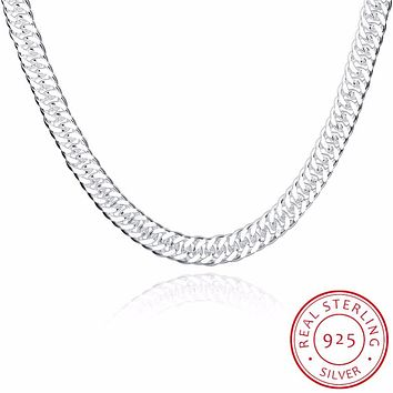 Trendy joyas de plata 925 silver 20 inches Long Chain Necklace Fine Jewelry For men Widde 10MM Charms Statement Necklaces collar