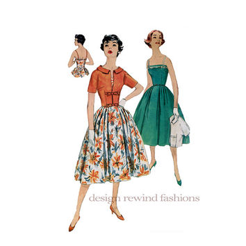 1950s DRESS Camisole Style Bodice, Softly Pleated Skirt & Kimono Sleeves Bolero Jacket Bust 34 Simplicity 8861 UNCUT Vintage Sewing Patterns