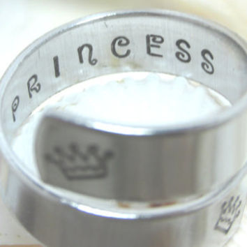 Crown With Princess On Inside Hand Stamp Adjustable Wrap Ring (417F)