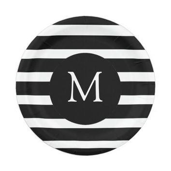 Modern Black and White Stripes Monogram Paper Plate