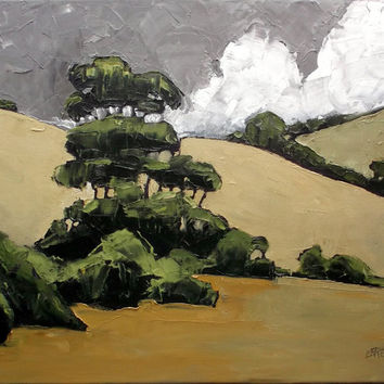 Impressionist Painting California HILLS & EUCALYPTUS Art Lynne French Landscape 16x20