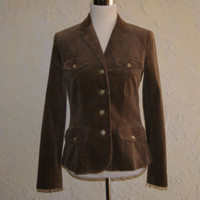 LAUREN RALPH LAUREN Brown Cauderouy Blazer Jacket Four Front Pockets Size 6