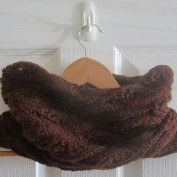 Eco Friendly Cowl - Chocolate Brown Cowl - Knit Lace Cowl - Tube Scarf - Neck Warmer - Loop Scarf - Dark Brown Cowl - Hand Knit Neckwarmer