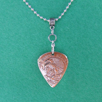 Custom Coin Guitar Pick Necklace  Handmade with a Vintage 1956 Mexican 50 cent piece