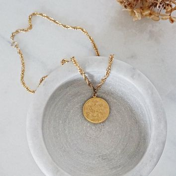 Vintage 1970s Zodiac + Aries Disc Necklace