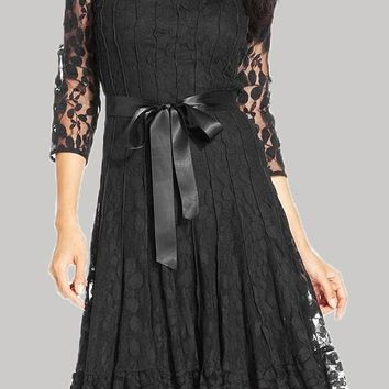 Black Patchwork Lace Cut Out Bow Formal 3/4 Sleeve Cute Midi Dress