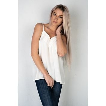Off White Crochet Lace Trimmed Cami Top