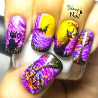 Halloween Witch Nail Art. Handmade Fake Nails, False Nails, Press On Nails, Micropainting On Nails