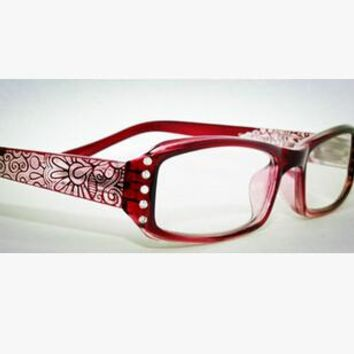 2016 Fashion Red Women Reading Glasses Flowers Print Reader with Diamonte