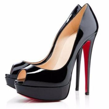 Red Botton Platform Peep Toe Stiletto Heels