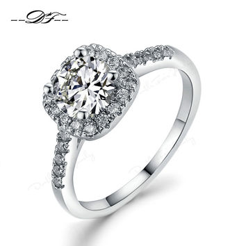 18K White Gold Plated Exquisite Bijoux Fashion Square Wedding & Engagement Ring Made With AAA+ CZ diamond Jewelry  DFR531