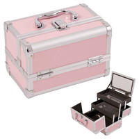 Justcase Pink 2-Tiers Extendable Trays Cosmetic Makeup Train Case With Mirror - M1001