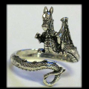 Sterling Silver Dragon Tail Coil Ring Adjustable Size