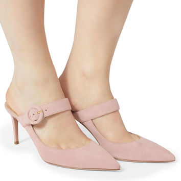 Blossom Buckle Strap Mule Pumps
