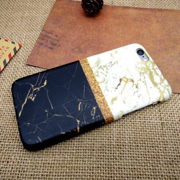 New Patchwork Marble Case Cover for iPhone 7 7 Plus - iPhone 5s se - iPhone 6 6s Plus + Gift Box