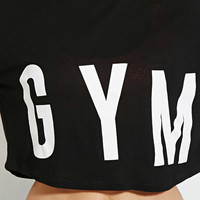 "Black ""GYM"" Print Crop Tank Loose Shirt"