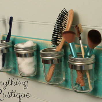 Mason Jar Organizer, Mason Jar Decor, Shabby Chic, Mason Jar Bathroom,Bathroom Decor, Rustic Decor, Mason Jar