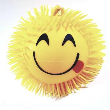 "BIG Yellow Emoji Smiley Silly Tongue Out Face 19"" Round Yo-Yo Koosh Inspired Light-Up Puffer Ball Squishy Toy"