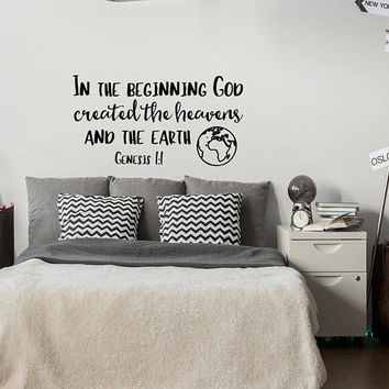 Genesis 1:1 In The Beginning God Created The Heavens Wall Decal Bible Verse- Scripture Wall Decal Religious Gifts- Bible Verse Wall Art #173
