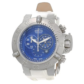 Invicta 80660 Men's Subaqua Noma III Chronograph Blue Dial White Leather Strap Dive Watch