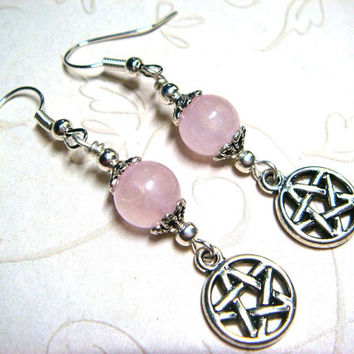 Wiccan Earrings Pagan Jewelry Pentacle Rose Quartz Metaphysical Spiritual Witchcraft Jewelry Handfasting Pentagram Earrings Gift for Her