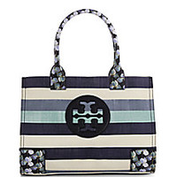 Tory Burch - Ella Striped Linen Mini Tote with Floral Trim - Saks Fifth Avenue Mobile