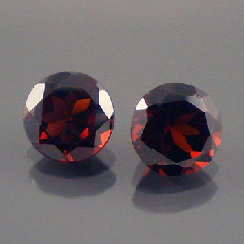 Garnet: 2.17twt Red Round Shape Gemstone Pair, Match Set, Natural Hand Made Faceted Gem, Loose Precious Mineral, OOAK Jewelry Supply 10080