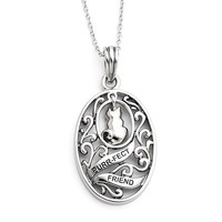 Sterling Silver Antiqued Animal Friends Cat 18in Necklace