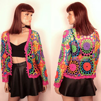 90s crochet cardigan // cropped boxy fit