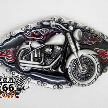 Flaming Motorcycle Chain Belt Buckle