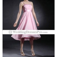 Straps Asymmetrical Tea-length Chiffon Mading Bridesmaid Wedding Party Dress(TBRMA117) [TBRMA117] - $72.99 : wedding fashion, wedding dress, bridal dresses, wedding shoes