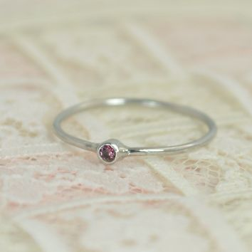 Tiny Solid White Gold Alexandrite Wedding Ring Set