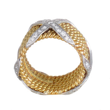 "Estate Tiffany & Co. Schlumberger Womens 18k Yellow and White Gold Diamond ""X"" Ring"