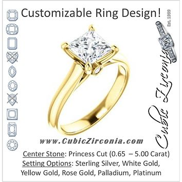 Cubic Zirconia Engagement Ring- The Tawanda (Customizable Princess Cut Cathedral Setting with Peekaboo Accents)