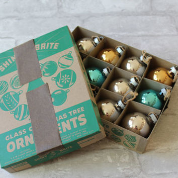 Shiny Brite Christmas Ornaments in Box, Original Mercury Glass Gold Silver Teal Made in USA Collectible Set 1940s Vintage FREE US Shipping