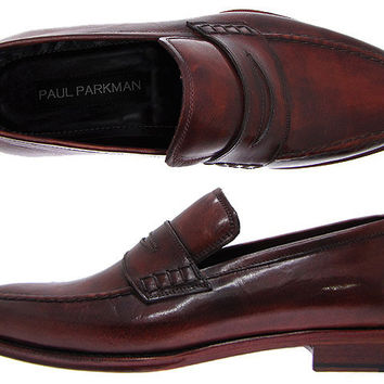 Paul Parkman Men's Penny Loafers - Antique Burnished Bordeaux Leather Upper & Reddish Leather Sole