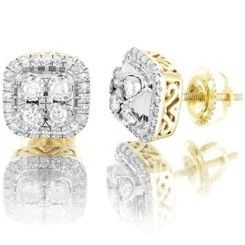 10k Gold Solitaire Prong 0.33Ct Diamonds Square Shape Classy Earrings