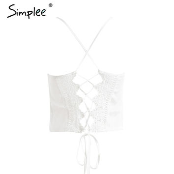 Casual Satin White Lace Up Tank Top