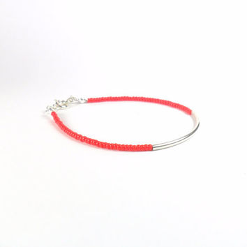 Red Seed Bead Stacking Friendship Bracelet with Sterling Silver Tube Minimalist Jewellery