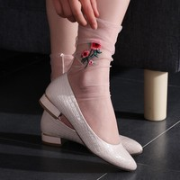 1Pair Sexy Women Ultrathin Sheer Embroider Rose Flowers Fishnet Socks Mesh Summer Hosiery Sock