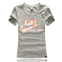 Trendsetter NIKE Woman Fashion Print Gym Sport Short Sleeve Tunic Shirt Top Blouse
