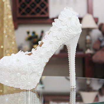 Flower lace pumps Shoes Stilettos Wedding Heels
